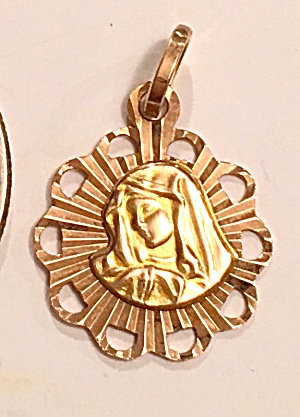 Vintage 14k Rose Gold & Yellow Gold Holy Pendant Virgin Mary Our Lady Sorrows