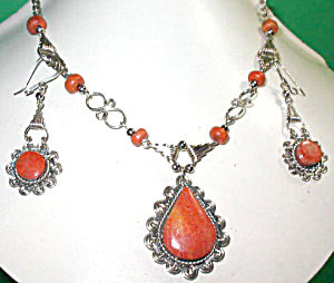 Gemstone Drop Necklace And Earrings: Natural Jasper Set