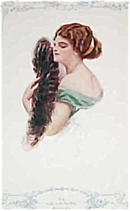 Harrison Fisher Print: Lady With Feather Fan
