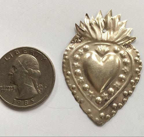 Antique Devotional Sterling Ex-voto Milagro Sacred Flaming Heart Devotional