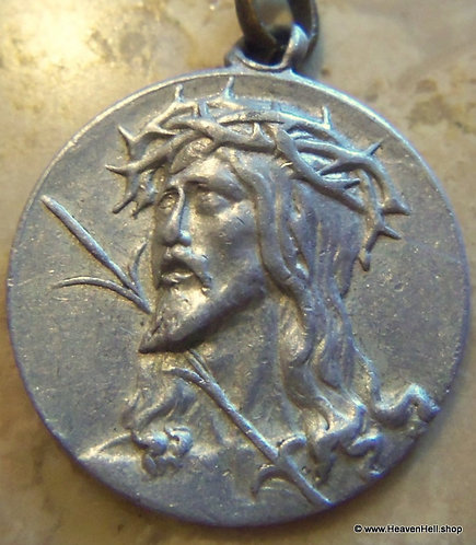 Vintage Christian Holy Medal Ecce Homo Jesus Crown Of Thorns Religious Jewelry