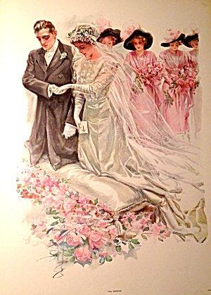 Xl Antique Print: Wedding Harrison Fisher Bride Groom Pink Roses