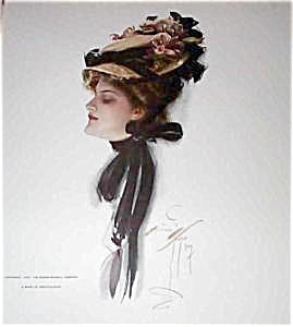 Harrison Fisher Print Edwardian Lady Rose Flower Hat