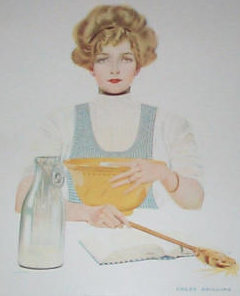 Vintage Coles Phillips Print Fade Away Girl Cooking Kitchen Wall Decor