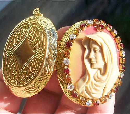 Blessed Mother Virgin Mary Cameo Locket Rhinestone Pendant