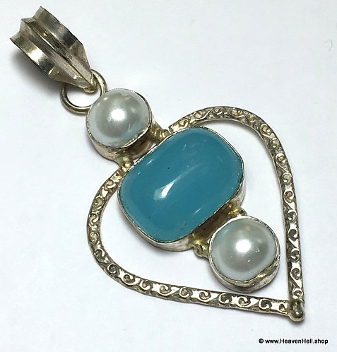 Soothing Angel Blue Chalcedony Pearl Sterling Gemstone Pendant, Silver Jewelry