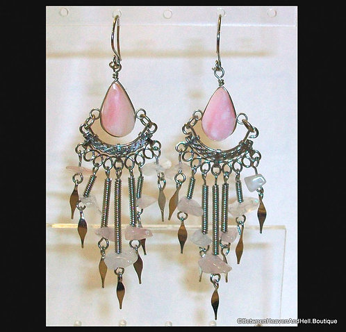 "3.5"" Long Dangle Earrings Pink Opal Rose Quartz, Handcrafted Wire Wrapped"