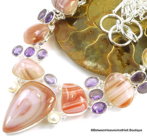 Vintage Banded Botswana Agate & Amethyst Silver Multi-gemstone Necklace