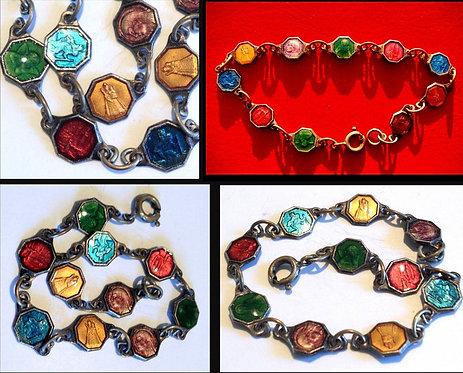 "Antique Enamel Catholic Saint Bracelet Virgin Mary Jesus Angel Medals 6"""