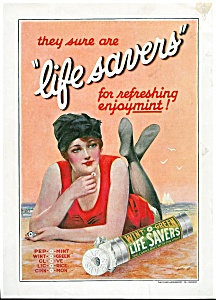 Vintage Print, Lady Swimmer In Red Life Savers Ad Illustration