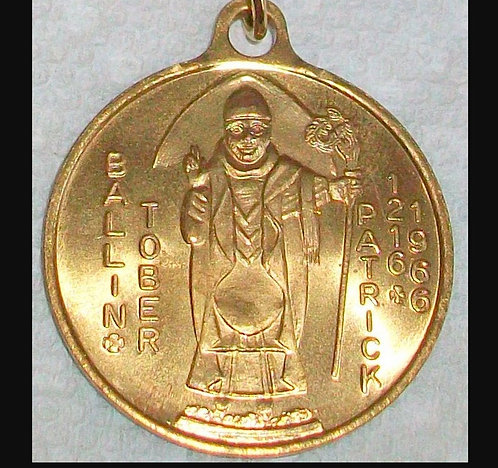 Large 1960's Saint Patrick Medal Ballin Tober Pendant - Gold Plated