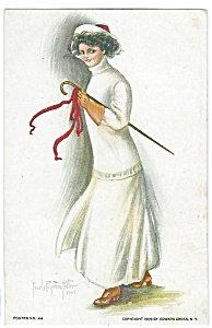 Artsist Signed Postcards: Pearl Eugenia Fidler Lady Walking Stick