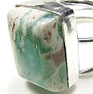 Chrysoprase Ring Wide Sterling Silver Adjustable Large