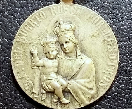 Antique 1906 Art Nouveau Holy Medal Our Lady Virgin Mary Child Jesus