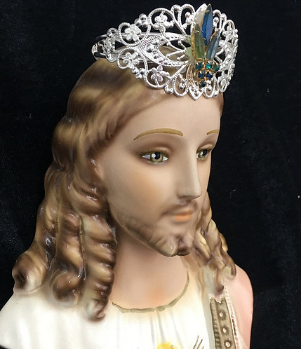 Upcycled Vintage Jesus King of Heaven Chalkware Wall Plaque Statue