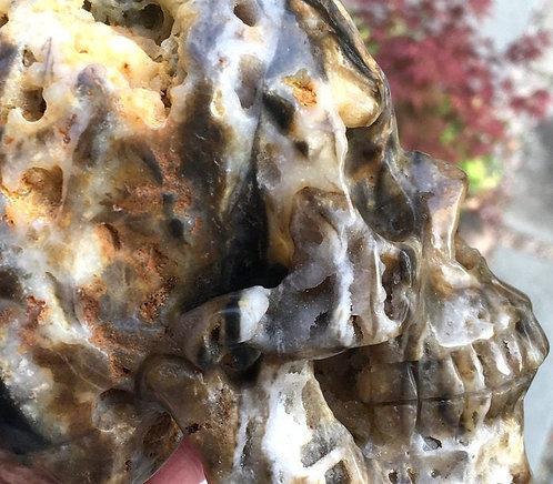 Large Druzy Agate Quartz Crystal Skull - Manifestation, Personal Power, Magick