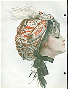 Vintage Print Illustration Harrison Fisher Lady In Turban
