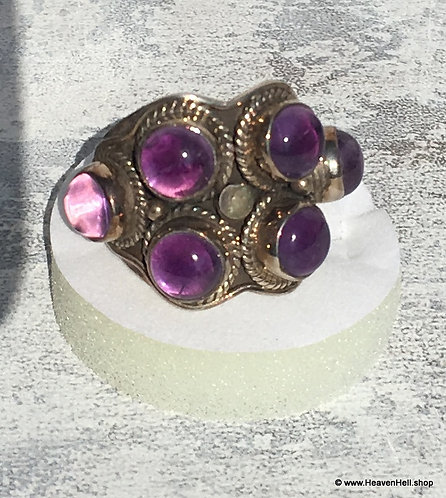 Large Sterling Amethyst Ring Vintage Silver Gemstone Jewelry, 8.25