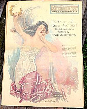 Patriotic 1918 Howard Chandler Christy Sunday Magazine Cover