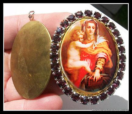 Rhinestone Madonna and Child Jesus Porcelain Cameo Prayer Shrine Locket