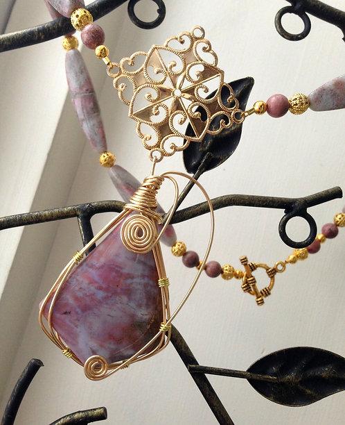 Wire Wrapped Jasper Gemstone Stunning Statement Necklace