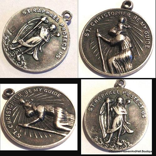 Rare Vintage Sterling Silver Medal Saint Raphael the Archangel  St. Christopher