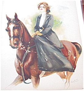 Antique Equestrian Prints Victorian Horseback Riding Side Saddle