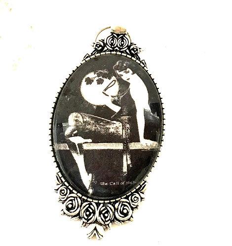 Sexy Art Deco Full Moon Maiden Glitter Cameo Pendant Wearable Art Jewelry