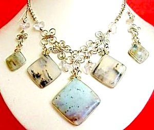 Andean Opal Necklace Drop Earrings Set Silver. Large
