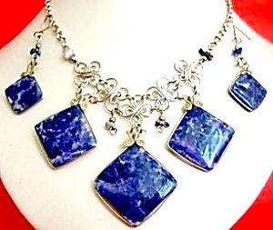 Big Sodalite Necklace Drop Earrings Set Silver