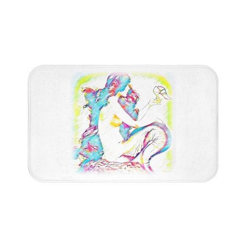 Beach Decor Bath Mat Beachy Bathroom Home Decor Colorful Mermaid Art White Rug
