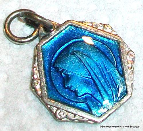 Antique Art Deco Enamel Medal Saint Christopher & Virgin Mary of Lourdes