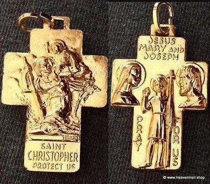 Vintage Holy family Cross Pendant Jesus Virgin Mary Saint Joseph St. Christopher