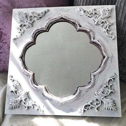 """16"""" Distressed White Accent Mirror Shabby Cottage Chic Wall Decor"""