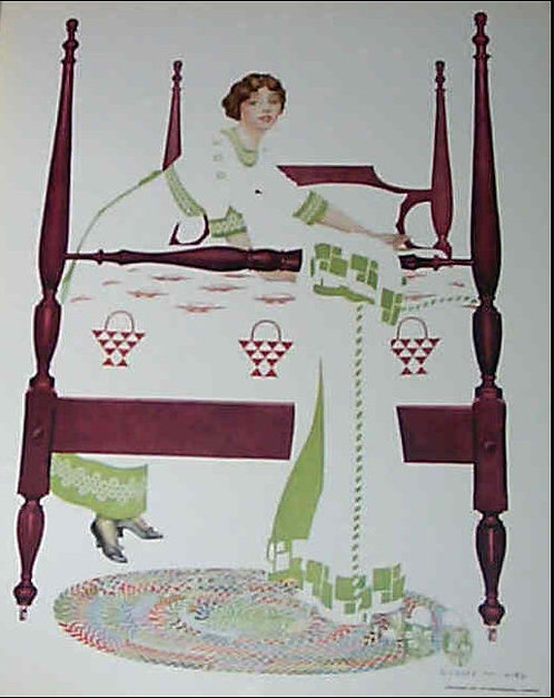 1912 Vintage Coles Phillips Print Fade Away Girl Making Bed Bedroom Wall Decor