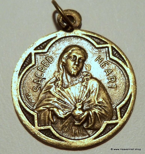 Vintage Brass Holy Medal Scapular Sacred Heart Virgin Mary, Religious Jewelry
