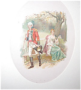 Old Lithograph Print > Colonial Couple> Romance