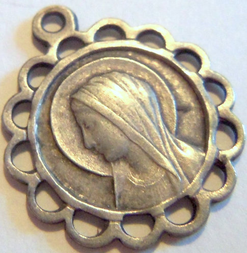 Antique French Holy Medal Our Lady Of Lourdes Saint Bernadette