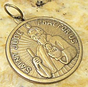 Vintage Brass St. Jude Holy Medal Saint Pendant