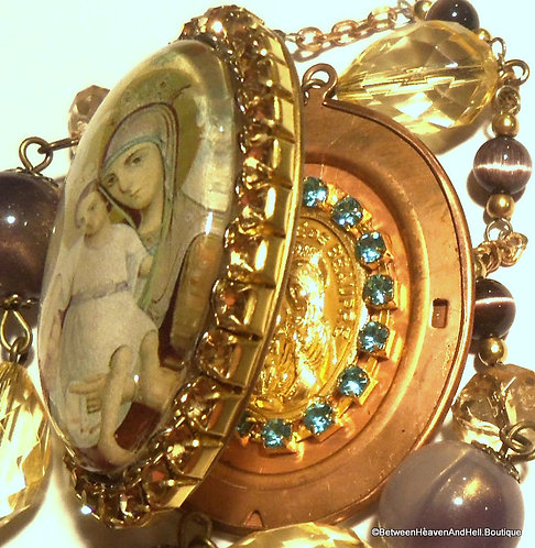 Heirloom Vintage Rhinestone Cameo Shrine Locket Saint Anne Virgin Mary