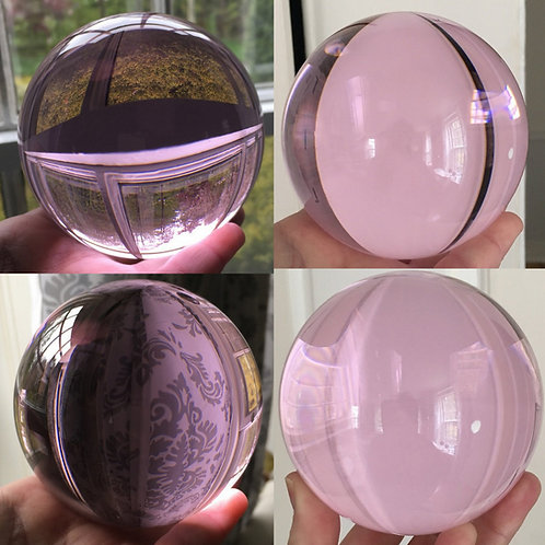 """Large 4"""" Pink Crystal Sphere Gazing Ball Scrying Orb Meditation Divination Tools"""