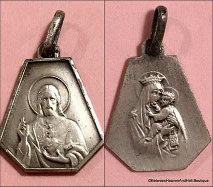 Vintage .800 Silver Small Scapular Medal Charm Sacred Heart, Religious jewelry