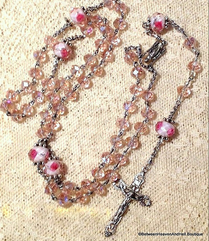 Handmade Germany Pink Roses Crystal Rosary Beads Our Lady of Grace Crucifix