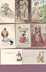 Antique Postcard Lot Easter Ladies Dog Children