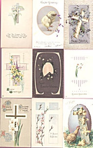 Antique Postcards Lot Easter Chicks Religious Cross