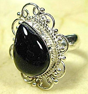 Black Onyx Cabochon Ring 8.5 Sterling Silver