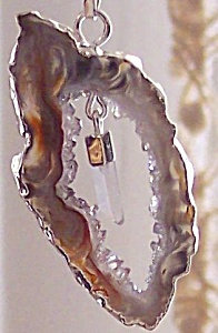Drusy Agate Slice Pendant With Crystal Quartz Point Drop