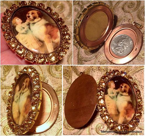 Dog Remembrance Jewelry, St Bernard and Child Cameo Locket Rhinestone Pendant