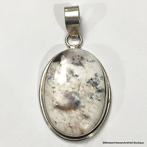 Large Sterling Silver Dendritic Agate Gemstone Pendant Healing Earth Energy