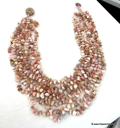"""18"""" Handmade Multi Strand Pink Opal Necklace, Handcrafted Jewelry"""
